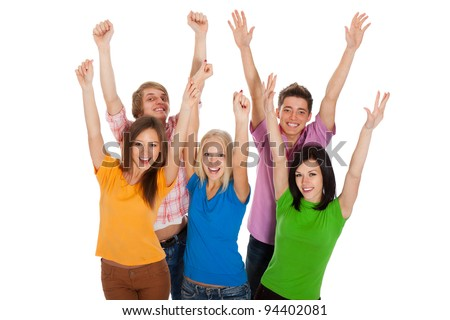 Group of happy teenagers. Smiling and looking at camera. Hands arms up. Isolated white background, front view. top angle view of happy young students celebrating success