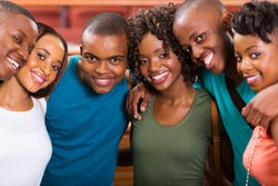 group of happy young african american students