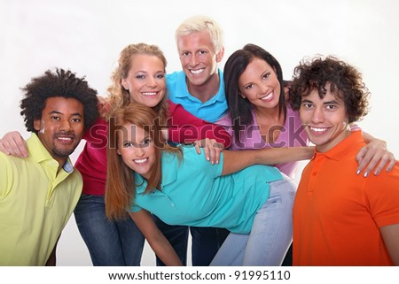 Group of happy young friends