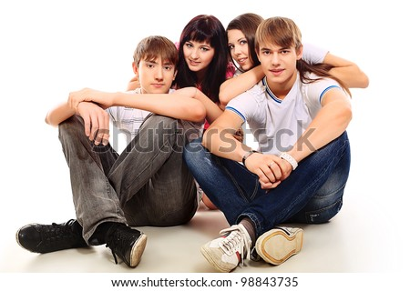 Group of happy young people isolated over white background.