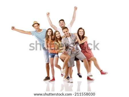 Group of happy young teenager students having fun isolated on white background Best friends