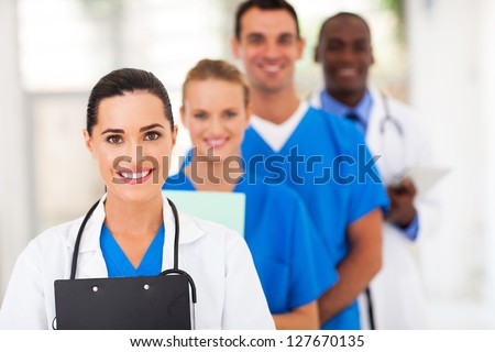 group of health care workers line up