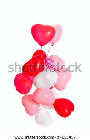 Group of heart shaped balloons isolated on white background