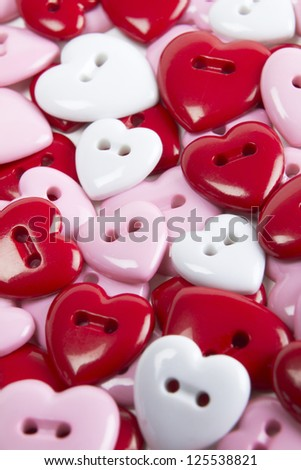 Group Of Heart Shaped Buttons