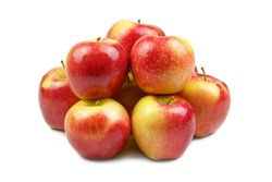 Group of high quality apples, isolated on white background. Kanzi apple.