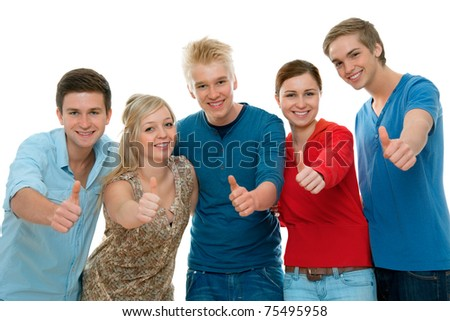 Group of high-school students holding  thumbs up and smiling.  Isolated on white background.