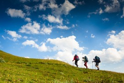 group of hikers in the mountain, travel sport lifestyle concept