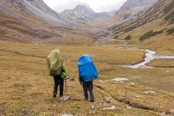 Group of hikers in Tien Shan mountains, central asia, Kyrgyzstan.