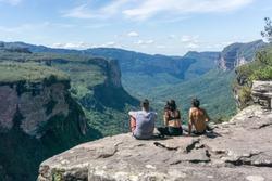 Group of hikers in Vale do Pati (Paty Valley), Chapada Diamantina National Park, Bahia, Brazil