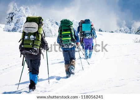 group of hikers in winter mountains #118056241