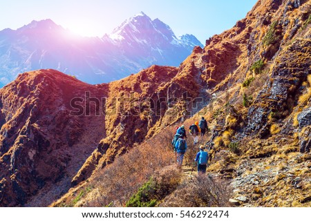 Shutterstock Group of Hikers male and female walking on Mountain Trail in Himalaya mixed grassy and rocky terrain carrying backpacks using trekking sticks rear View People are unrecognizable Sun above Peaks behind