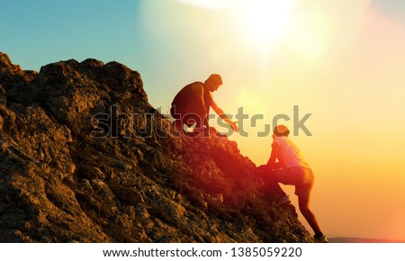 Group of hikers on a mountain