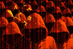 Group of hooded hackers shining through a digital chinese flag cybersecurity concept