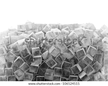 Group of Ice Cubes isolated on white background with place for your text