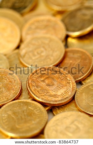 Group of Indian rupee gold coins business money