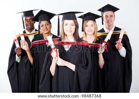 group of international graduates on white background