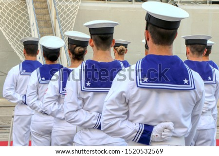 Group of Italian sailors from behind #1520532569