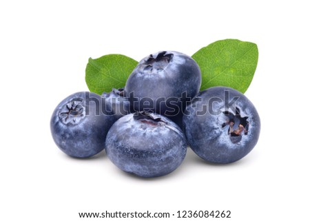 Group of Juicy Blueberries fruits with cut in half and green leaves isolated on white background