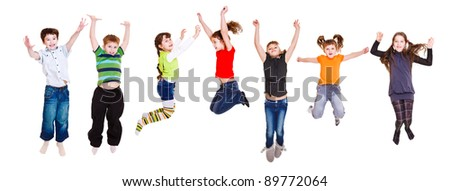 Group of jumping children, over white
