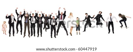 Group of Jumping People isolated on white Background
