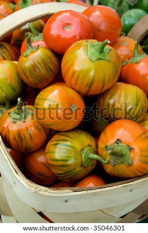 Group of just harvested heirloom tomatoes  in basket at local farm market