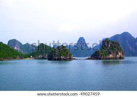Group of Karst islands in Ha Long Bay in Vietnam