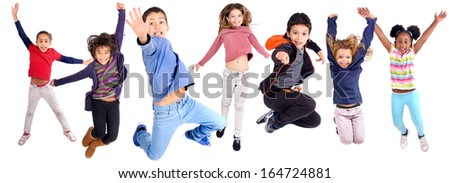 group of kids jumping isolated in white