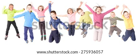 group of kids jumping isolated in white #275936057