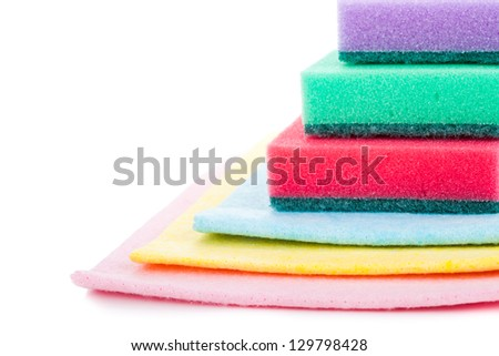 Group of kitchen sponges isolated on the white background