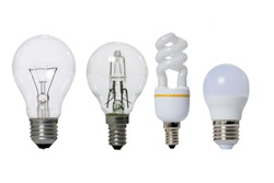 Group of lamps on a white background: led, fluorescent, incandescent, halogen with opaque glass bulb and E27 socket.