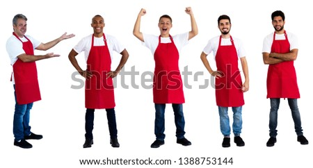 Group of 5 latin and caucasian and african american waiters on an isolated white background for cut out