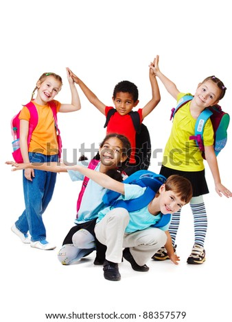 Group of laughing kids in bright t-shirts