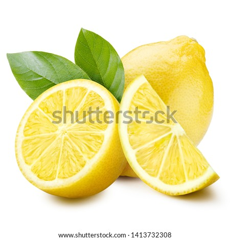 Group of lemons with leaves, isolated on white background