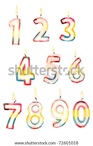 Group of lit birthday candle numbers on a white background for easy editing