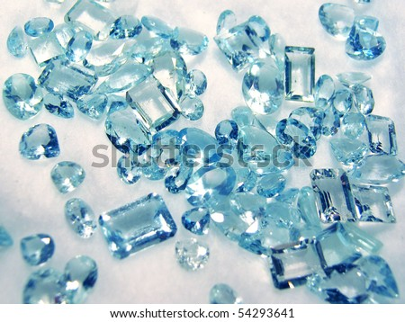 Group of little faceted aquamarines
