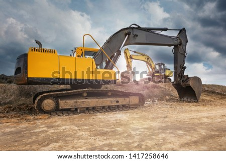 Group of machinery in a construction site