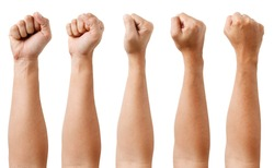 GROUP of Male asian hand gestures isolated over the white background. Grab with five fingers Action. Fist.