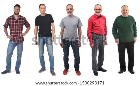 group of man of different ages in white background