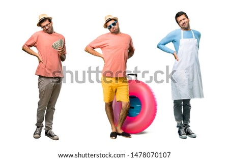 Group of man with bills, chef and Man with hat and sunglasses on his summer vacation unhappy and suffering from backache for having made an effort