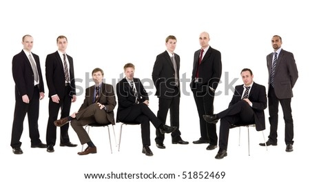 Group of management men isolated on white background