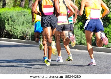Group of marathon racers running