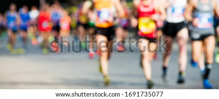 group of marathon runners, abstract blurry picture ストックフォト ©