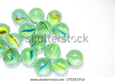Group of Marbles Colorful with shadow on white background #370261916