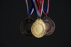 group of medal on the black background