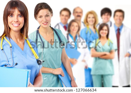 Group of medical doctor. Over white background.