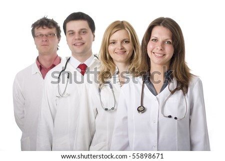 Group of medical doctors with stethoscopes, isolated on white