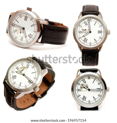 Group of men mechanical watches isolated on white background