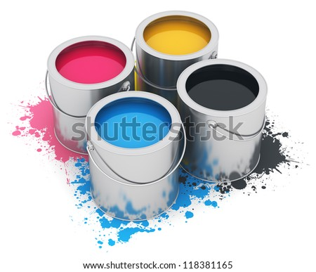 Group of metal tin cans with color CMYK acrylic oil paint isolated on white background