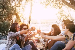 Group of middle age young adult women having fun together toasting and clinking with wine glasses at the beach during a golden sunset enjoying outdoor leisure activity or vacation