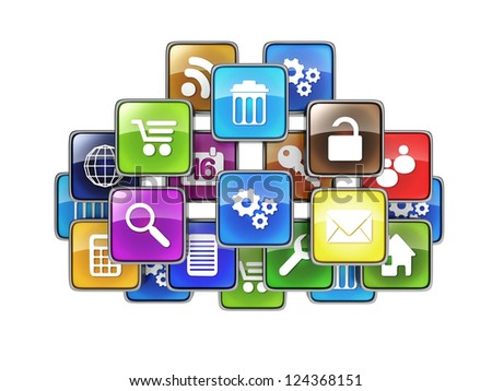 Group of mobile applications in the form of icons drawn in the cloud